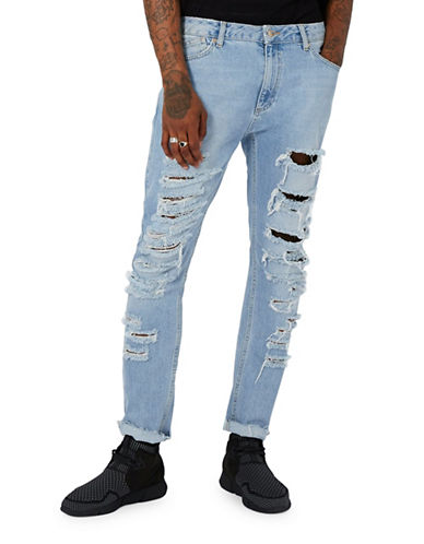 Topman AAA Shredded Jeans-BLUE-30