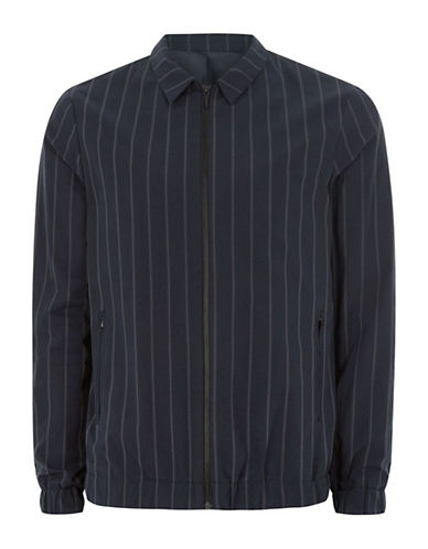 Topman Harrington Striped Sport Shirt-BLUE-X-Small