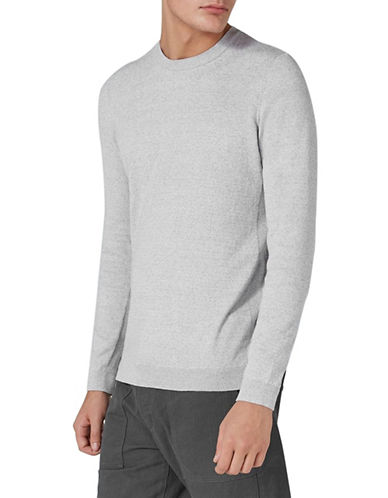 Topman Slim Fit Twist Sweater-GREY-Medium