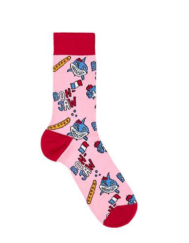 Topman Jaws Shark Socks-PINK-One Size