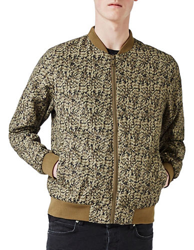 Topman Abstract Camouflage Bomber Jacket-KHAKI/OLIVE-X-Small