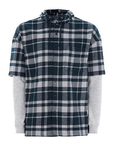 Topman Check Hooded Shirt-BLUE-Large