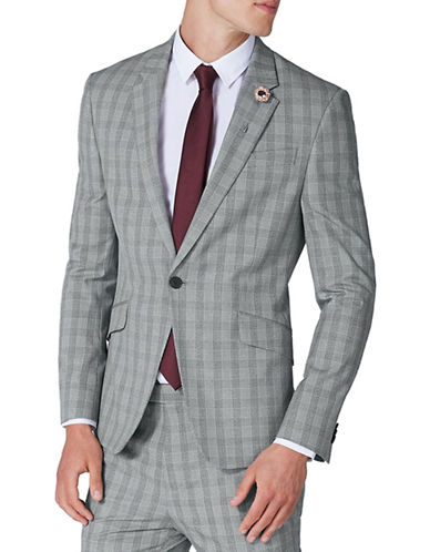 Topman Muscle Fit Check Suit Jacket-GREY-36