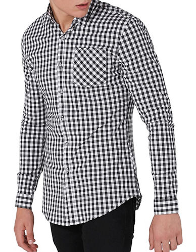 Topman Gingham Muscle Sport Shirt-BLACK-X-Small