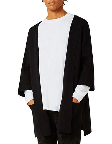 Topman Knitted Kimono Hoodie-BLACK-Medium 88989583_BLACK_Medium