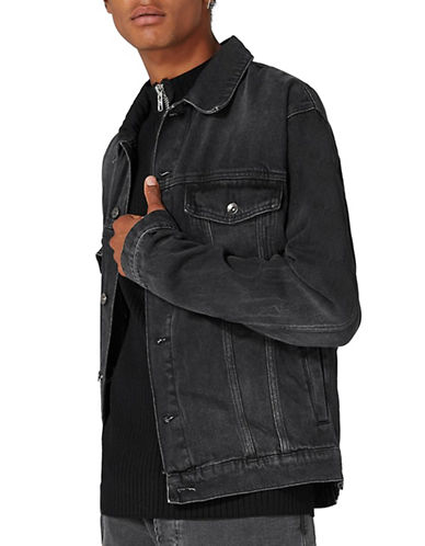 Topman Oversized Black Denim Jacket-BLACK-X-Small