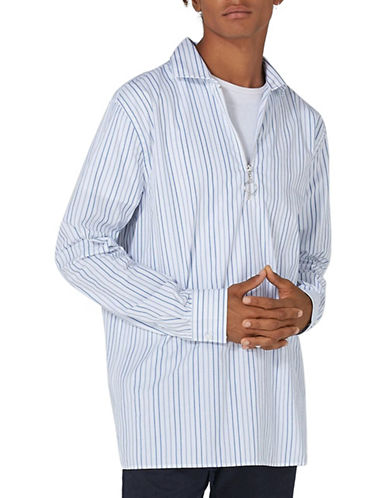 Topman Striped Overhead Shirt-WHITE-Large