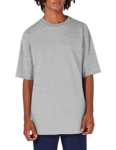 Topman Marl 90s Oversized T-Shirt-GREY-Large