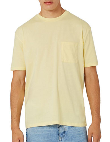 Topman Crew Neck T-Shirt with Pocket-YELLOW-Large