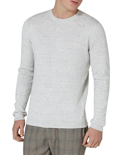 Topman Slim Fit Twisted Ribbed Sweater-OFF WHITE-Small
