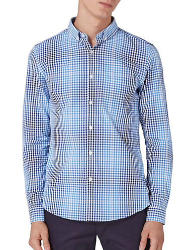 Topman Ombre Gingham Slim Fit Sport Shirt-MULTI-Large