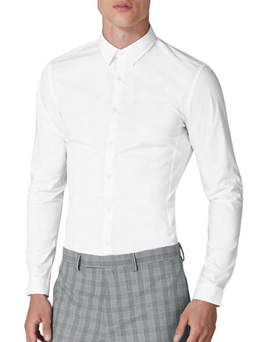 Topman Stretch Cotton Sport Shirt-WHITE-Medium
