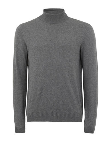 Topman Slim Fit Turtleneck-GREY-Large