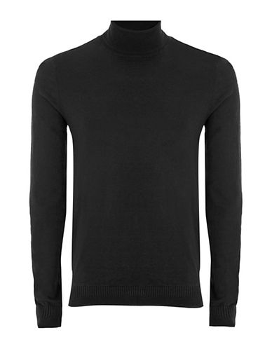 Topman Slim Fit Turtleneck-BLACK-Large