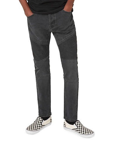 Topman Washed Biker Stretch Skinny Jeans-BLACK-34 Short