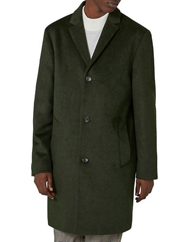 Topman Wool-Blend Overcoat-GREEN-X-Small