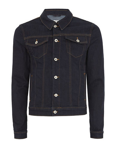 Topman Muscle Fit Raw Denim Jacket-BLUE-X-Large