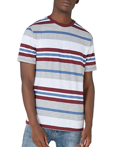 Topman Stripe T-Shirt-RED-Large