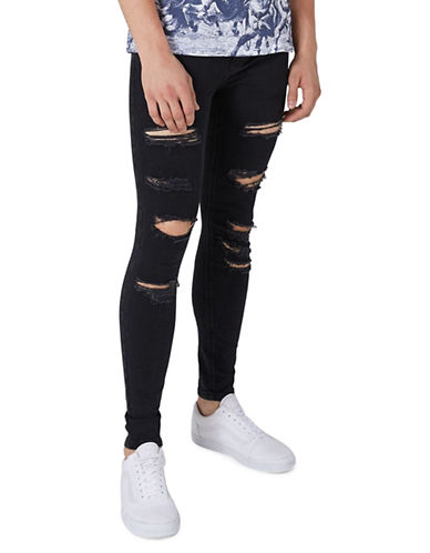 Topman Extreme Spray-On Ripped Jeans-BLACK-32
