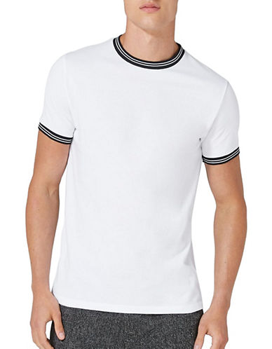 Topman Pique Muscle Fit T-Shirt-WHITE-X-Small