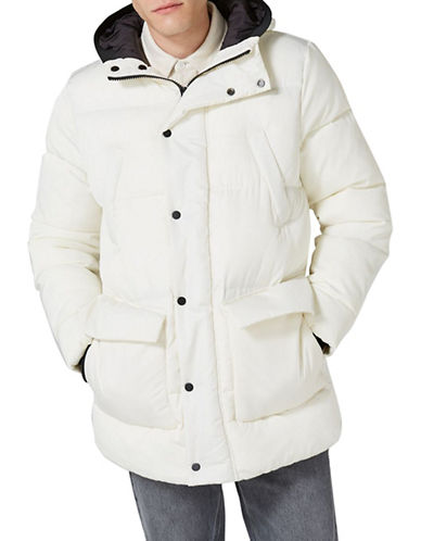 Topman LTD Classic Fit Tundra Thinsulate Parka-WHITE-Small