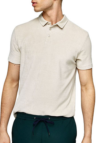 Topman Slim Fit Towelling Polo-GREY-Large