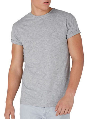 Topman Muscle Fit Roller Slub T-Shirt-GREY-Small