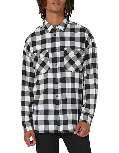 Topman Classic Fit Buffalo Check Shirt-BLACK-Medium