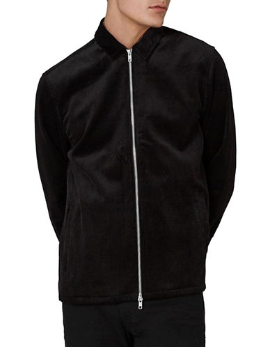 Topman Obe Corduroy Zip-Up Overshirt-BLACK-X-Small