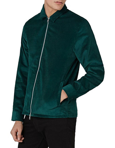 Topman Corduroy Zip-Up Overshirt-GREEN-Large