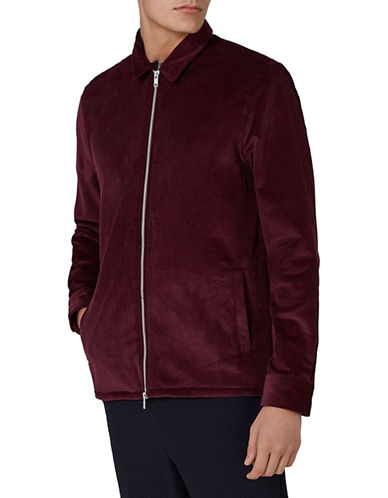 Topman Obe Corduroy Zip-Up Overshirt-BURGUNDY-X-Small
