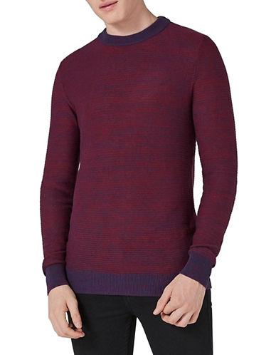 Topman Slim Fit Stripe Textured Sweater-RED-X-Small