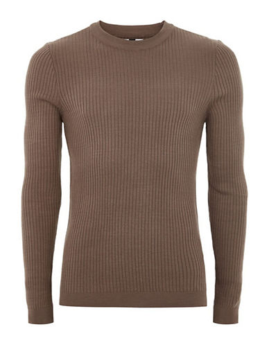 Topman Ribbed Muscle Fit Sweater-RED-X-Small