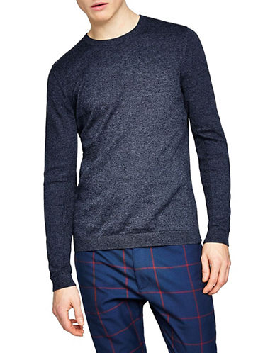 Topman Slim Fit Twist Side Ribbed Sweater-BLUE-Large