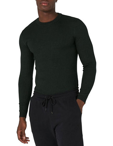 Topman Muscle Fit Ribbed Sweater-GREEN-X-Small