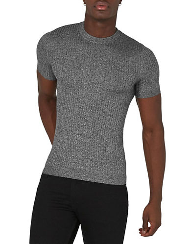 Topman Muscle Fit Ribbed T-Shirt-GREY-Large