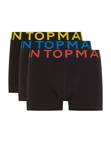 Topman Three-Pack Assorted Trunks-BLACK-Small