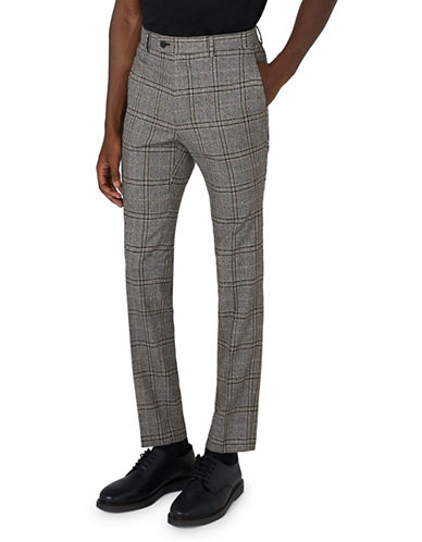 Topman Skinny Fit Check Suit Trousers-GREY-28 Short