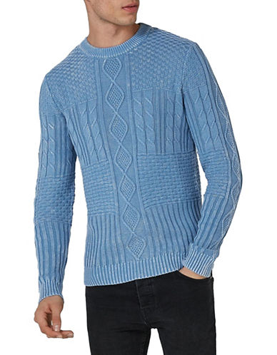 Topman Acid Cable Knit Sweater-MEDIUM BLUE-Small