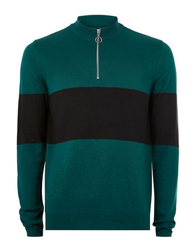 Topman Slim Fit Colourblock Zip Pullover-BLUE-Large