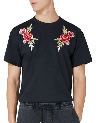 Topman Rose Applique T-Shirt-BLACK-X-Large