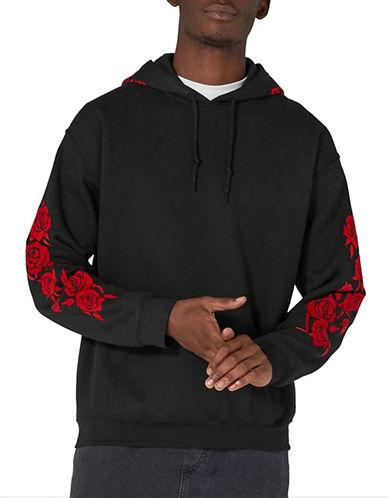 Topman Rose Flock Hoodie-BLACK-Large 89653960_BLACK_Large