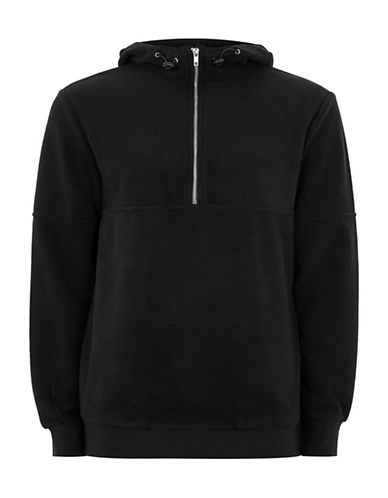 Topman Classic Fit Fleece Zip Hoodie-WASHED BLACK-Small