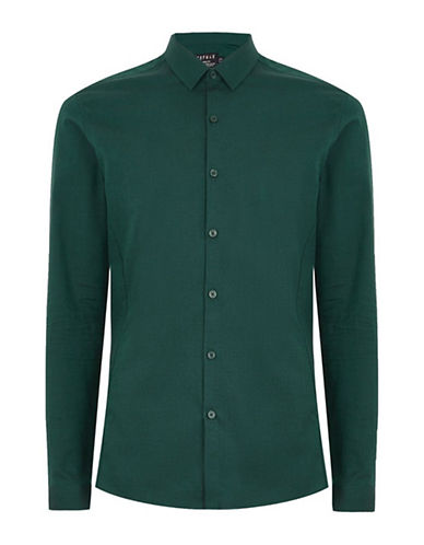 Topman Long Sleeve Slim Fit Dress Shirt-GREEN-Large