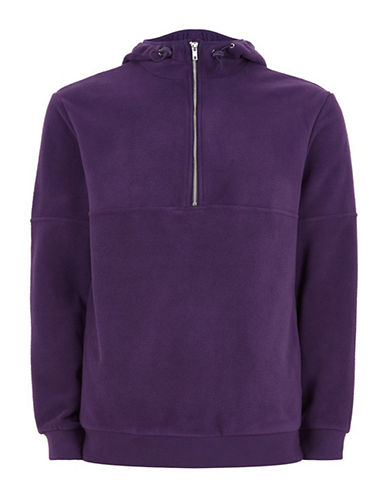 Topman Classic Fit Fleece Zip Hoodie-PURPLE-Small