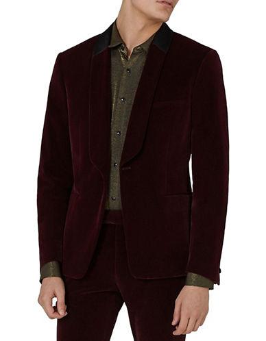 Topman Skinny Fit Velvet Tuxedo Jacket-BURGUNDY-48