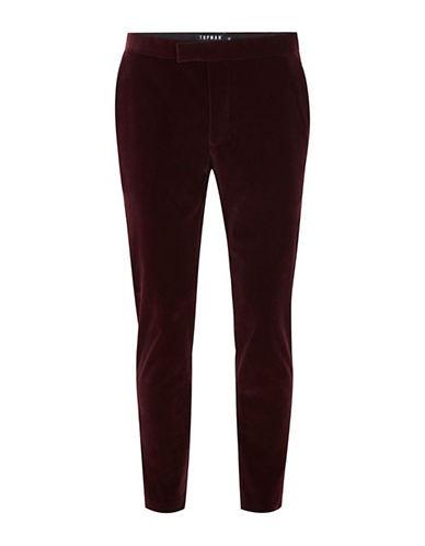 Topman Velvet Skinny Tux Pants-BURGUNDY-34 Short