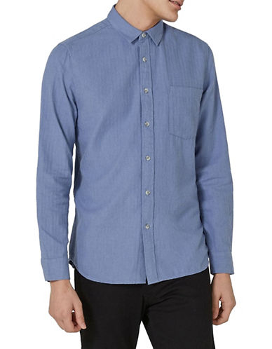 Topman Classic Fit Flannel Herringbone Sport Shirt-LIGHT BLUE-X-Small