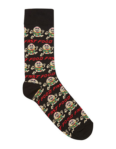 Topman Fast Food Socks-BLACK-One Size
