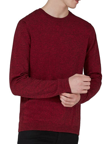 Topman Slim Fit Twist Side Ribbed Sweater-RED-Medium